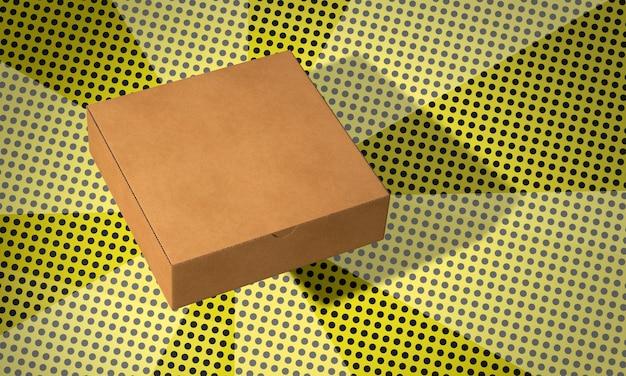 Caja de cartón cuadrada simple en el fondo de los cómics