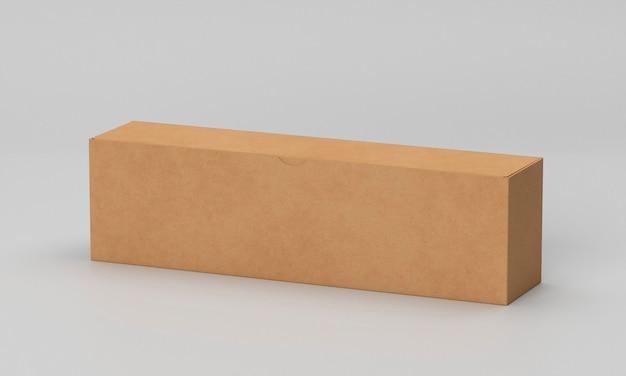 Caja de cartón larga marrón sobre fondo gris