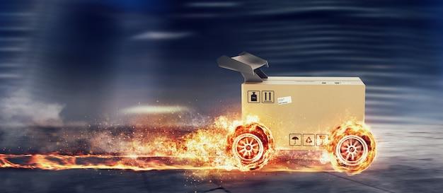 Caja de cartón prioritaria con ruedas de carreras en llamas. envío rápido por carretera.