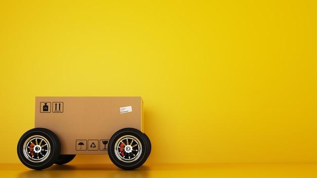 Caja de cartón con ruedas de carreras como un coche sobre un fondo amarillo. envío rápido por carretera