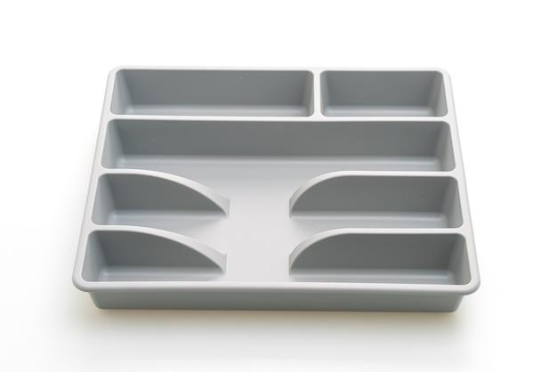Caja de cocina con cubiertos para cucharas, tenedores, cuchillos aislados
