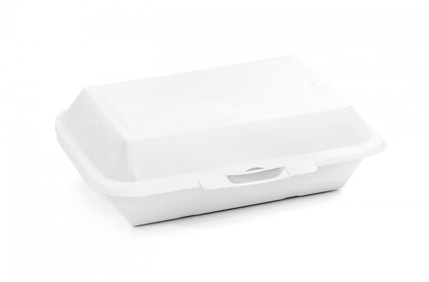 Caja de comida de papel reciclado de envases en blanco para comida aislado