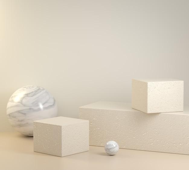 Caja cuadrada concreta de la plataforma primitiva de la maqueta con el render 3d del fondo del color beige