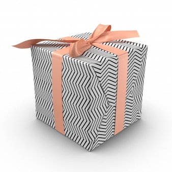 Caja de regalo blanco y negro con cinta rosa