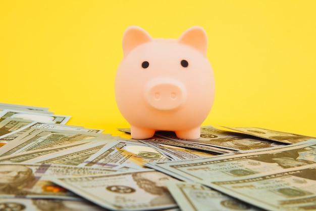 Caja de dinero alcancía rosa en billetes de dólar y euro en amarillo.