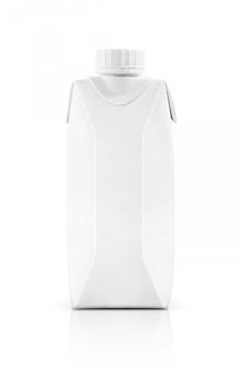 Caja de envase de leche de embalaje en blanco con tapa de plástico aislado
