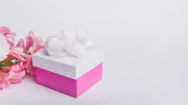 Caja de la flor y del regalo del lirio de agua aislada en el fondo blanco