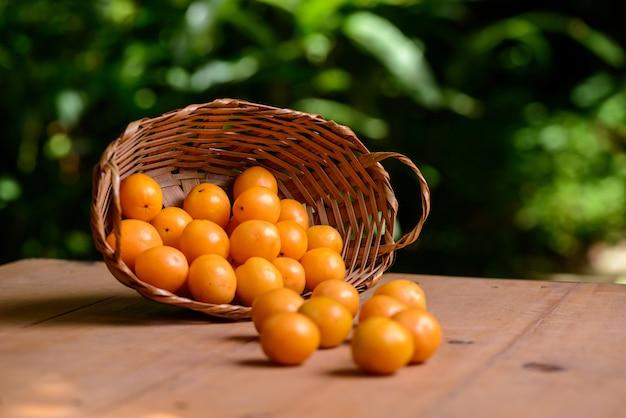 Caja de frutas brasileñas en la canasta de paja