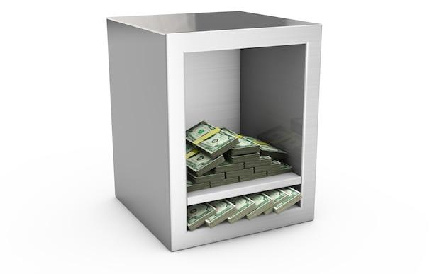 Caja fuerte de acero y dinero 3d. protección del concepto de finanzas. aislado en blanco