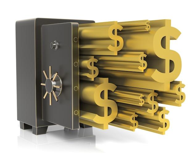 Caja fuerte de acero con signo de dólar de oro aislado en blanco representación 3d de alta resolución