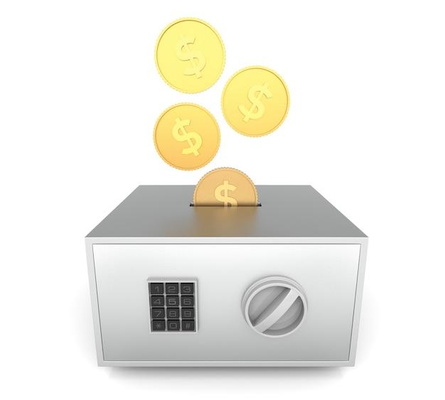 Caja fuerte cerrada con monedas de dinero insertadas render 3d