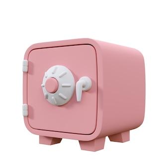 Caja fuerte de dinero rosa de estilo de dibujos animados aislada sobre fondo blanco ilustración de render 3d