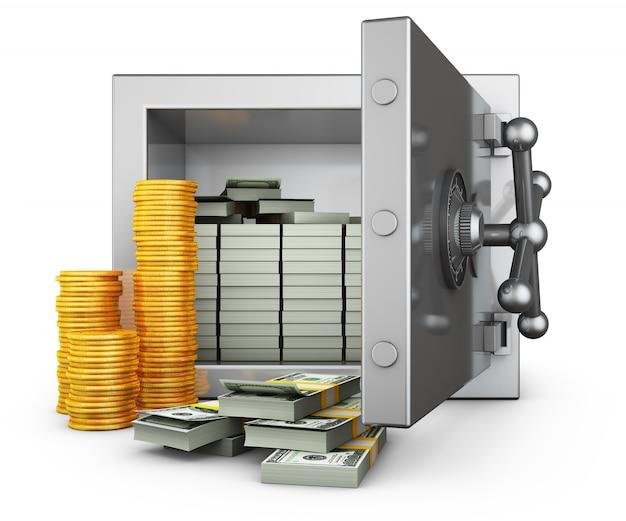 Caja fuerte con dólares y montones de monedas.