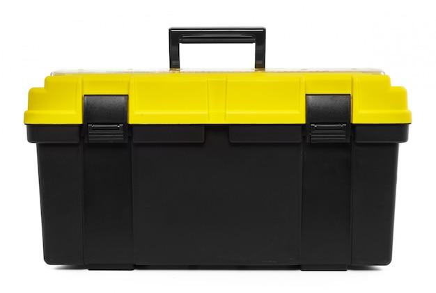 Caja de herramientas aislada en el blanco