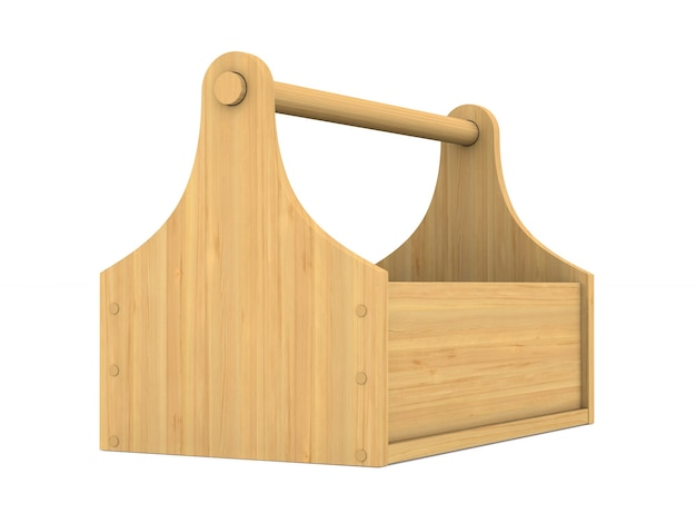 Caja de herramientas de madera sobre fondo blanco. ilustración 3d aislada