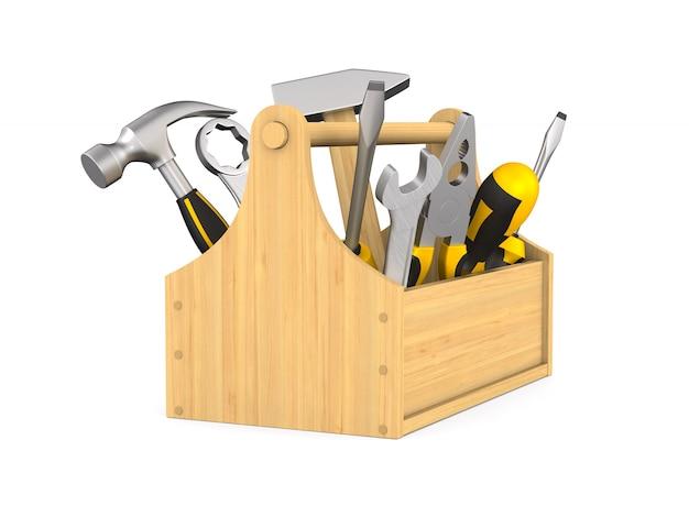 Caja de herramientas sobre fondo blanco. ilustración 3d aislada