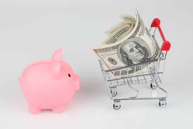 Caja de hucha rosa, billetes de dólar y mini carrito de compras