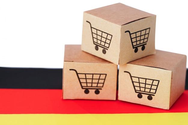 Caja con logo de carrito de compras y bandera de alemania