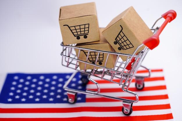 Caja con logo de carrito de compras y bandera de estados unidos usa.