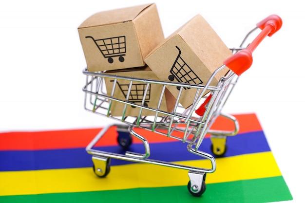 Caja con logo de carrito de compras y bandera de mauricio.