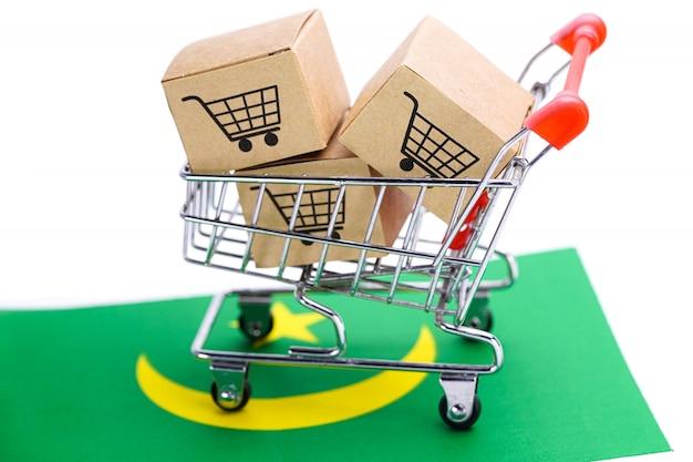 Caja con logo de carrito de compras y bandera de mauritania.