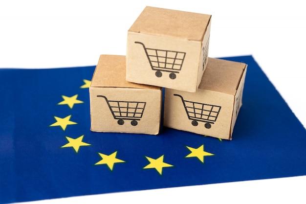 Caja con logo de carrito de compras y bandera de la ue.