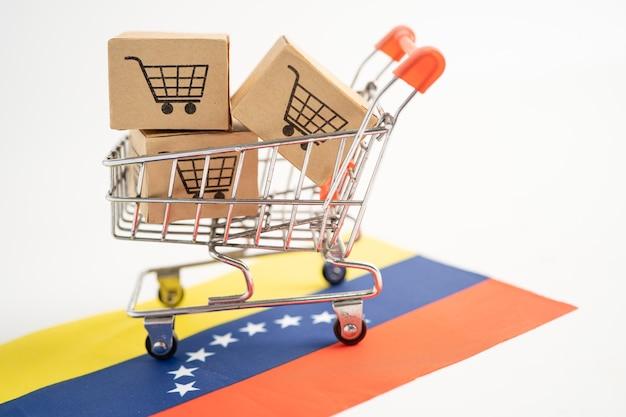 Caja con logo de carrito de compras y bandera de venezuela import export