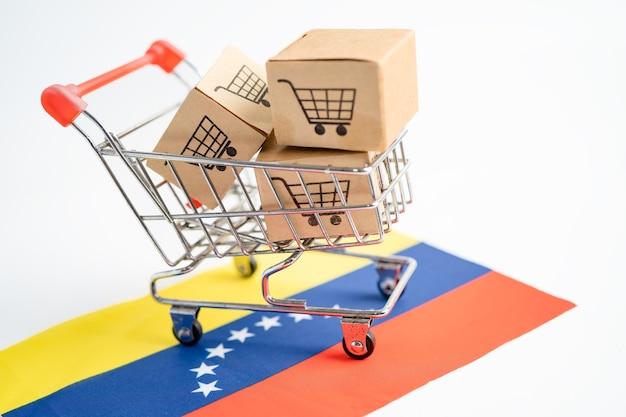 Caja con logo de carrito de compras y bandera de venezuela importación exportación compras en línea