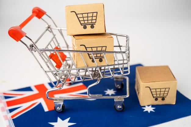 Caja con logo de carro de compras y bandera de australia.