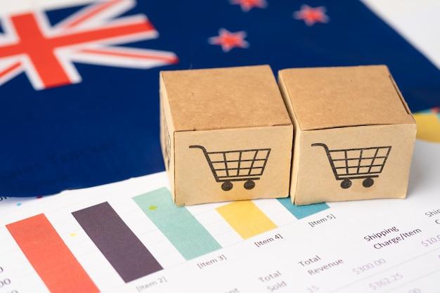 Caja con logo de carro de compras y bandera de nueva zelanda.