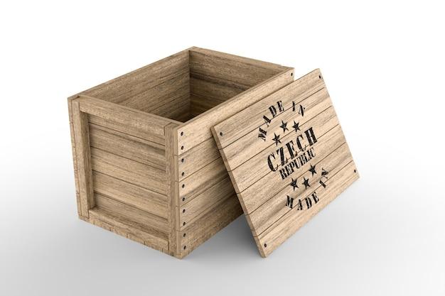 Caja de madera grande con texto hecho en república checa sobre fondo blanco. representación 3d
