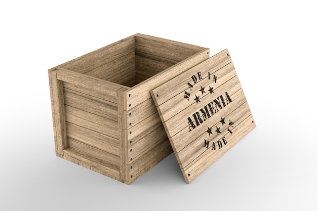 Caja de madera grande con texto made in armenia sobre fondo blanco. representación 3d