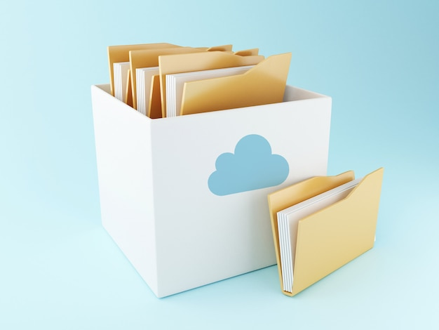 Caja de nube 3d con archivos. almacenamiento en la nube
