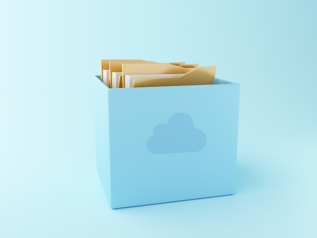 Caja de nube 3d con archivos.
