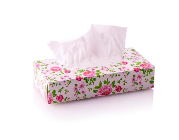 Caja de pañuelos de la flor aislada
