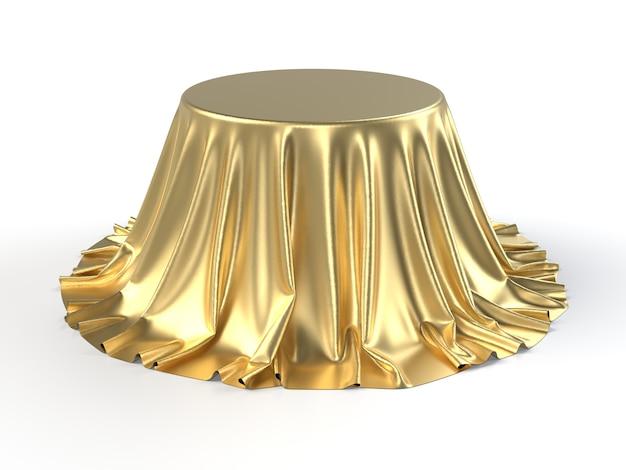 Caja redonda cubierta con tela dorada.