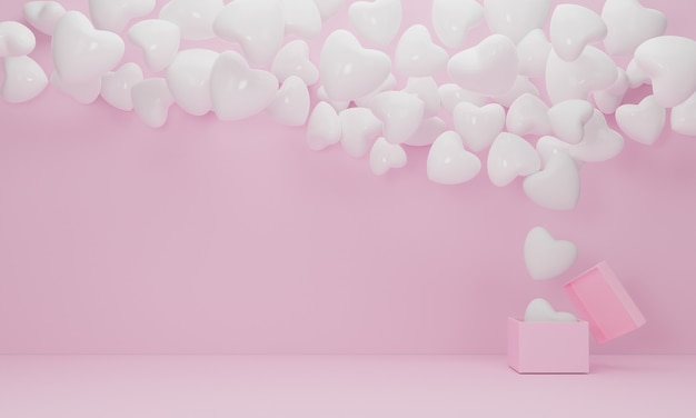 Caja de regalo abierta flotador de corazón de globo blanco sobre fondo rosa, símbolos de amor para mujeres felices, día de la madre, día de san valentín, concepto de cumpleaños. representación 3d