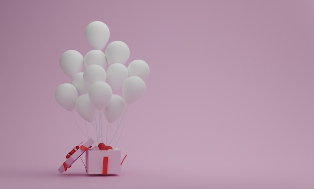 Caja de regalo abierta con globo blanco sobre fondo rosa pastel. san valentín o concepto de momento especial. espacio vacío para tu decoración. representación 3d