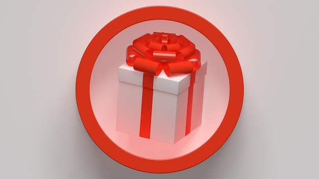 Caja de regalo con arco regalo navidad año nuevo render 3d