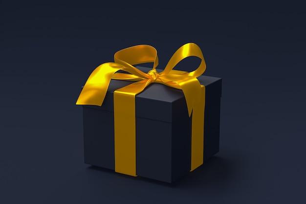 Caja de regalo azul oscuro 3d con lazo y cinta dorada