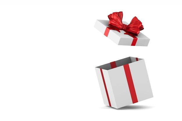Caja de regalo blanca abierta con lazo rojo sobre fondo blanco. ilustración 3d aislada