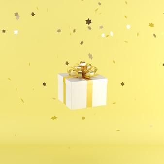 Caja de regalo blanca con cinta de color amarillo sobre fondo de color amarillo