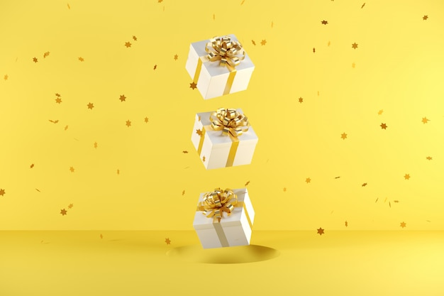 Caja de regalo blanca con cinta dorada flotando sobre fondo amarillo