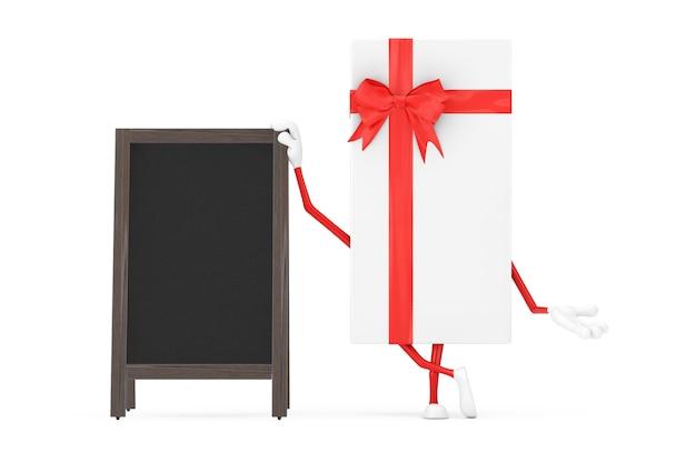 Caja de regalo blanca y mascota de personaje de cinta roja con pantalla exterior de pizarras de menú de madera en blanco sobre un fondo blanco. representación 3d