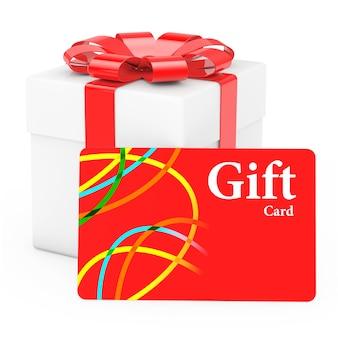 Caja de regalo de cardoard con tarjeta de regalo sobre un fondo blanco. representación 3d.