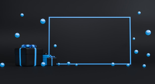 Caja de regalo con cinta sobre fondo negro. concepto mínimo. representación 3d