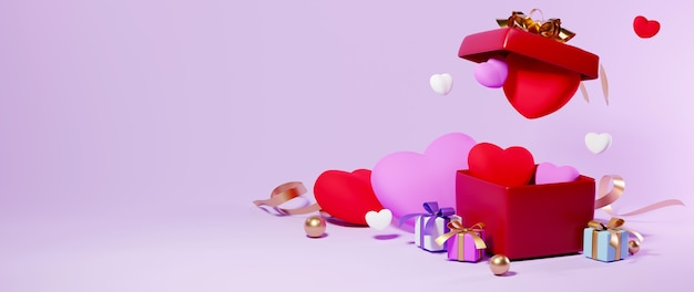 Caja de regalo y corazón en concepto de celebración de fondo rosa para mujeres felices, papá mamá, corazón dulce, pancarta o folleto diseño de tarjeta de regalo de felicitación de cumpleaños. cartel de saludo de amor romántico 3d.