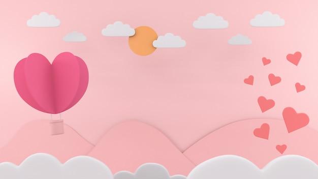 Caja de regalo corazón tarjeta flotante fondo amor san valentín concepto 3d rendering