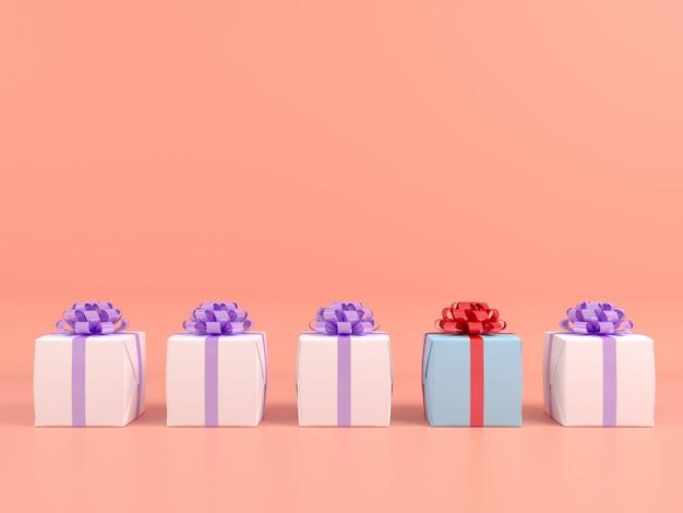 Caja de regalo cuadrada y cinta roja fondo rosa. concepto de pastel 3d render
