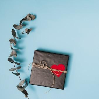 Caja de regalo envuelta con oído y rama.